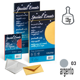 Busta Special Events metal - argento - 110 x 220mm - 120gr - Favini - conf. 10 buste