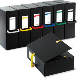 Scatola archivio Big Next - dorso 12 cm - 25x35 cm - nero/giallo - Sei Rota