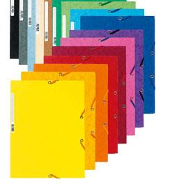 Cartellina con elastico - cartoncino lustrE' - 3 lembi - 400 gr - 24x32 cm - blu - Exacompta