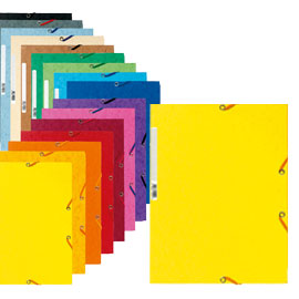 Cartellina con elastico - cartoncino lustrE' - 3 lembi - 400 gr - 24x32 cm - grigio - Exacompta