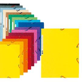 Cartellina con elastico - cartoncino lustrE' - 3 lembi - 400 gr - 24x32 cm - giallo limone - Exacompta