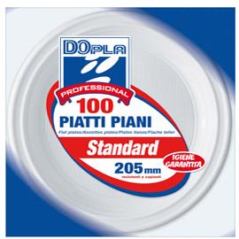 Piatti piani - diametro 205 mm - polistirene - Dopla - conf. 100 pezzi