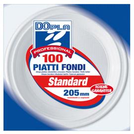Piatti fondi - diametro 205 mm - polistirene - Dopla - conf. 100 pezzi