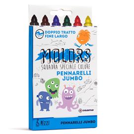 Pennarelli Molors - punta jumbo - colori assortiti - Osama - astuccio 6 pezzi