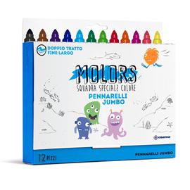 Pennarelli Molors - punta jumbo - colori assortiti - Osama - astuccio 12 pezzi