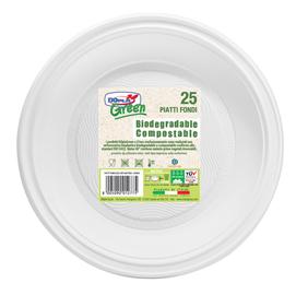 Piatti fondi biodegradabili - Mater-Bi - diametro 220 mm - avorio - Dopla - conf. 25 pezzi