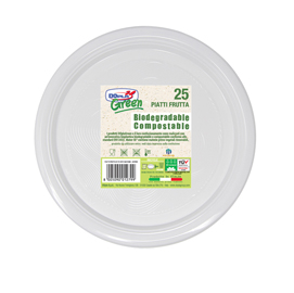 Piatti frutta biodegradabili - Mater-Bi - diametro 170 mm - avorio - Dopla - conf. 25 pezzi