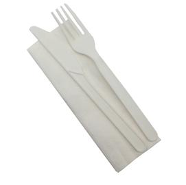 Bis posate in CPLA con tovagliolo 33 x 33 cm 2 veli - bianco - Dopla - conf. 100 pezzi