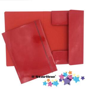Cartellina con elastico - cartone plastificato - 3 lembi - 25x34 cm - rosso - Queen Starline