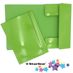 Cartellina con elastico - cartone plastificato - 3 lembi - 25x34 cm - verde prato - Queen Starline