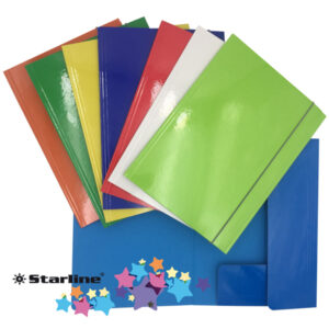 Cartellina con elastico - cartone plastificato - 3 lembi - 25x34 cm - colori assortiti - Queen Starline